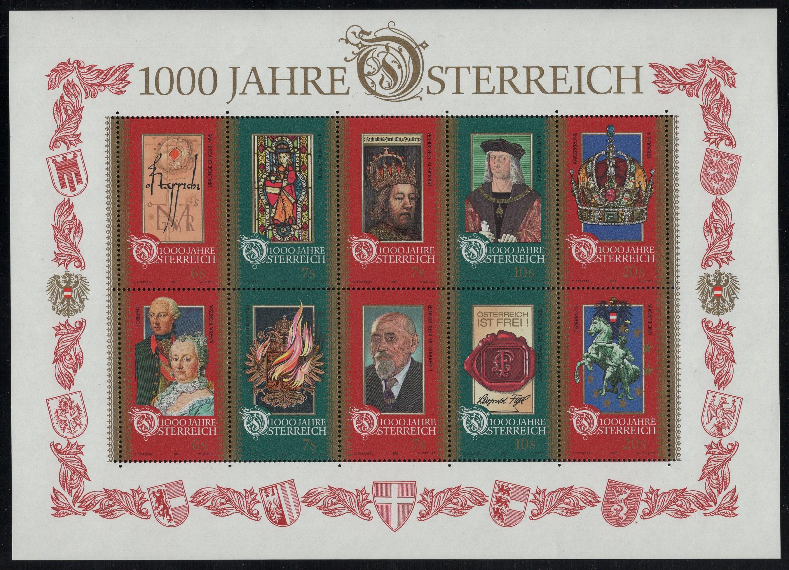 Österreich - Block 012 - postfrisch - 1000 Jahre Österreich