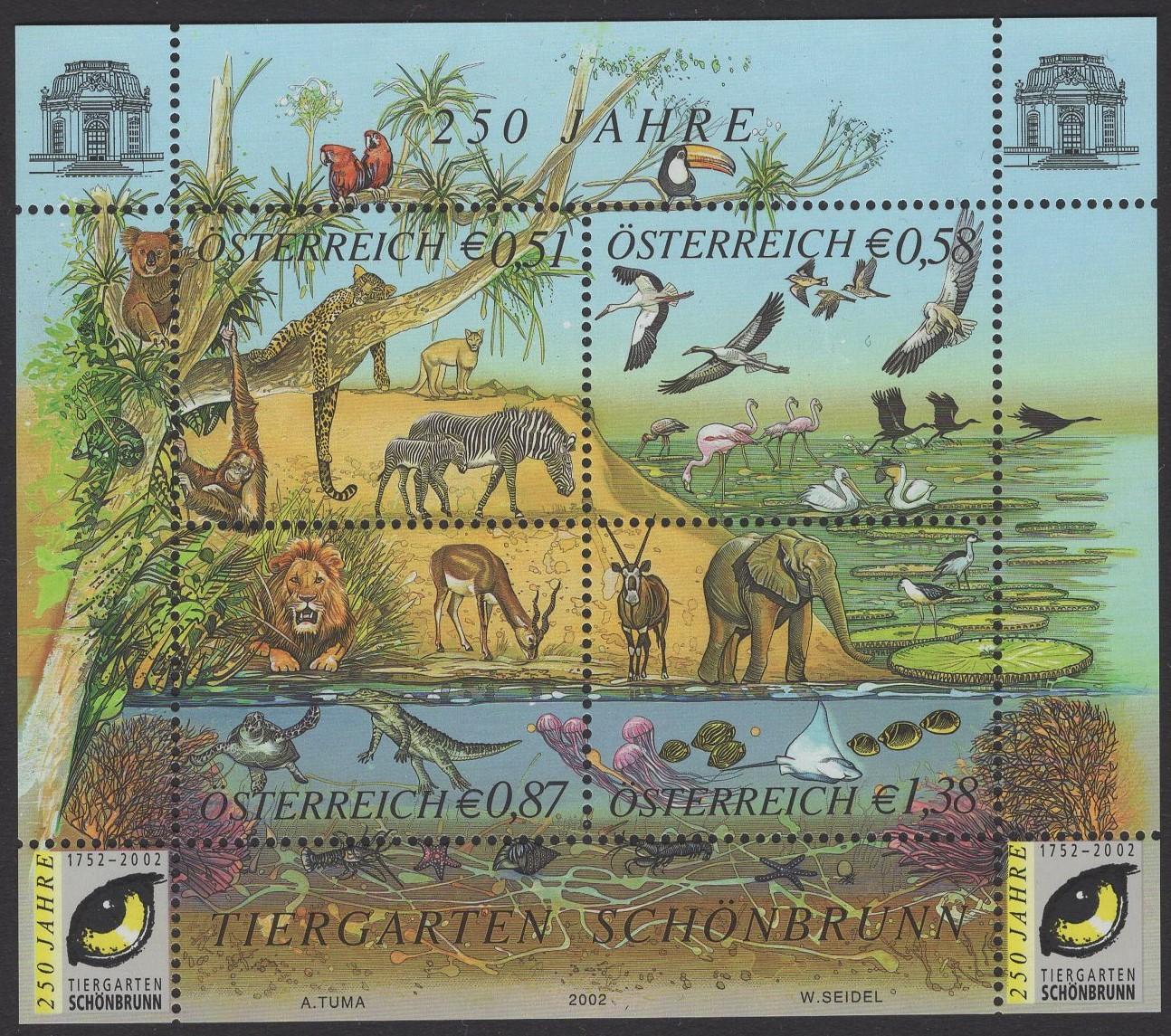 Österreich - Block 016 - postfrisch - 250 Jahre Tiergarten Schönbrunn