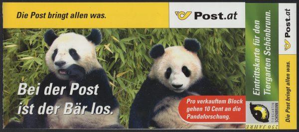 Österreich - Block 018 - postfrisch - Panda Forschung Spendenkarte
