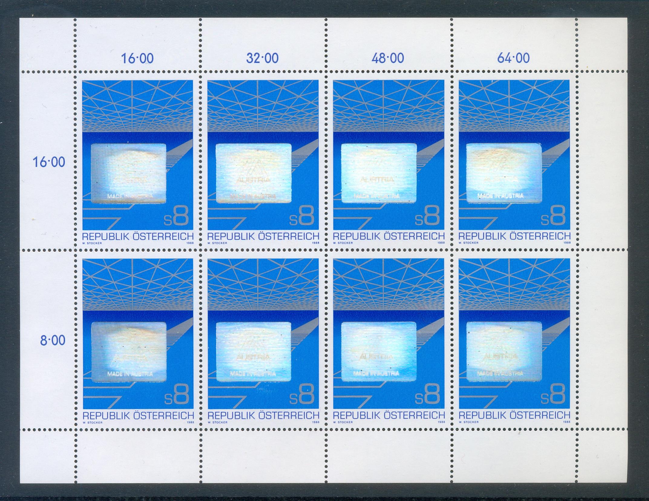 Österreich - postfrisch - Kleinbogen - Mi1936 - Österreichischer Export Hologramm