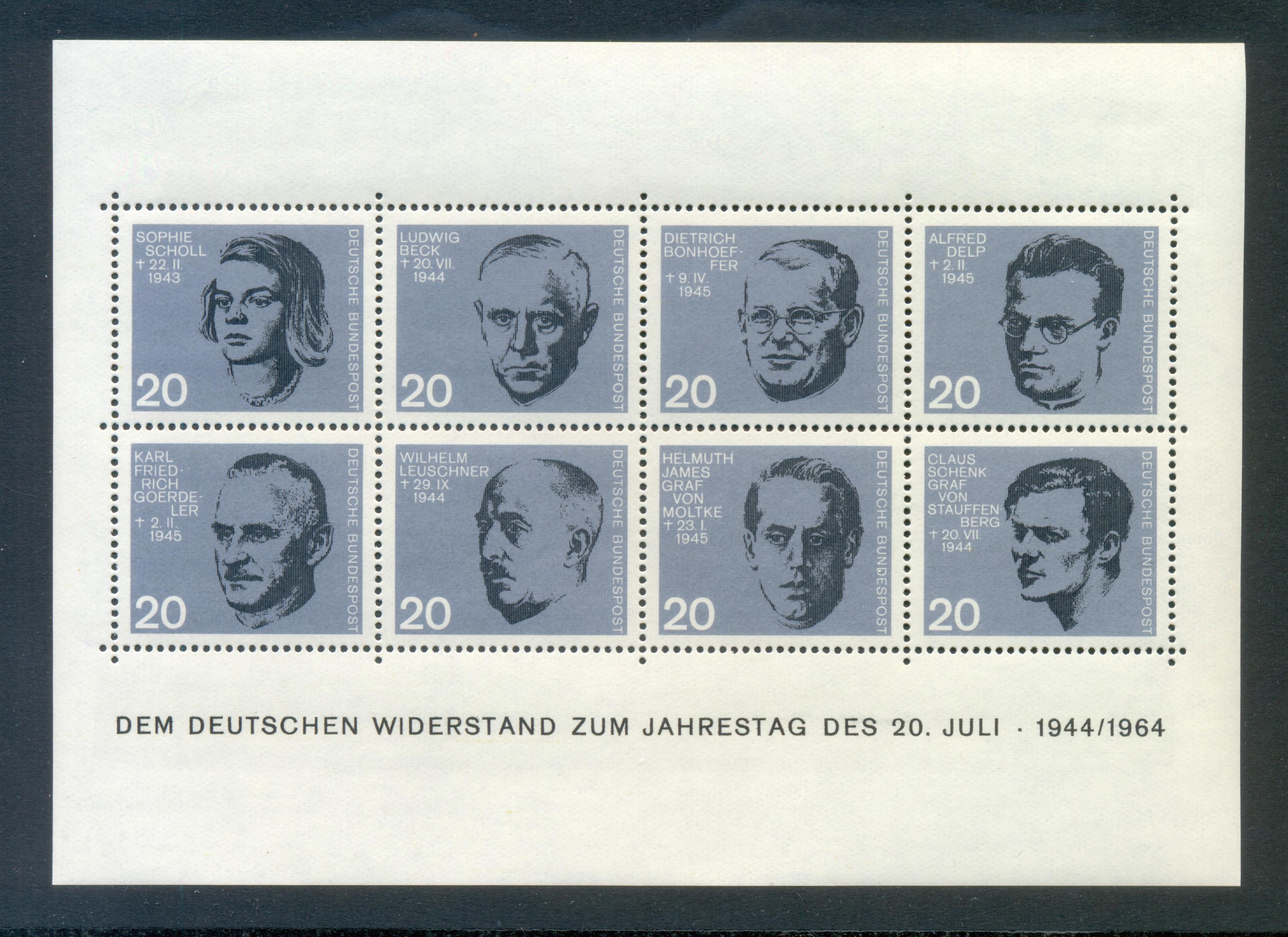 Bund Block 03 Widerstandskämpfer postfrisch