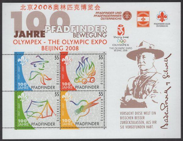 Österreich - Block 036 - postfrisch - II Pfadfinder mit Pekingaufdruck