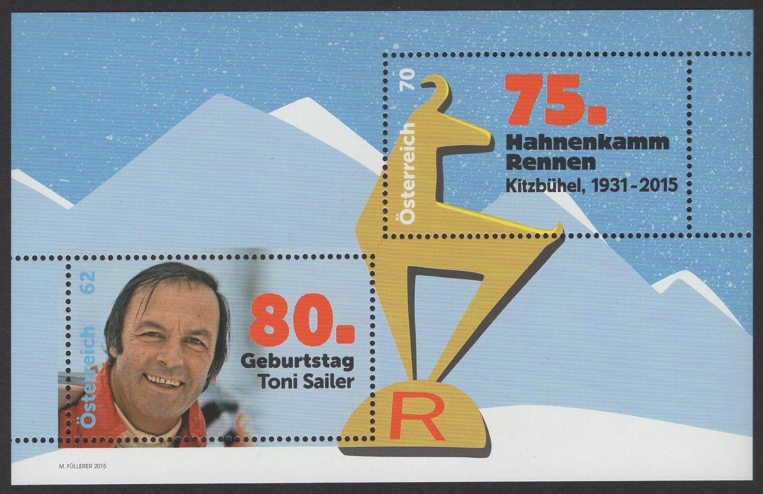 Österreich - Block 084 - postfrisch - 80. Geburtstag Toni Sailer