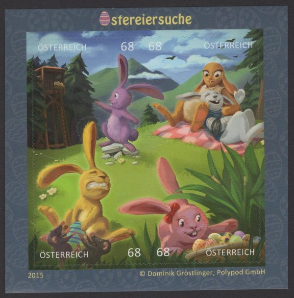 Österreich - Block 085 - postfrisch - Comicmarken IV Ostereisuche