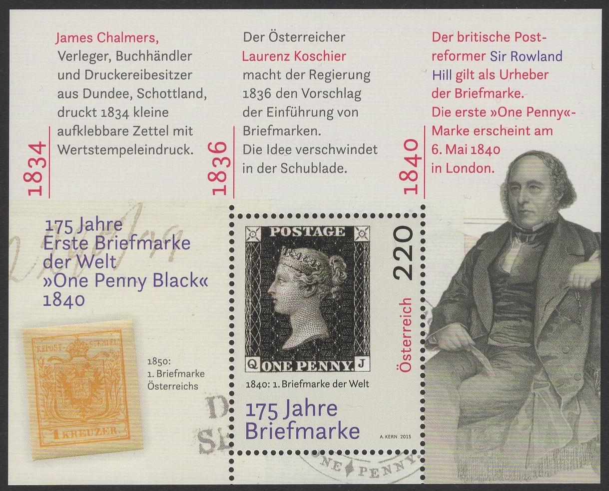 Österreich - Block 086 - postfrisch - 175 Jahre Briefmarken