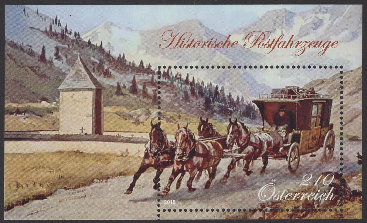 Österreich - Block 100 - postfrisch - Historische Postfahrzeuge