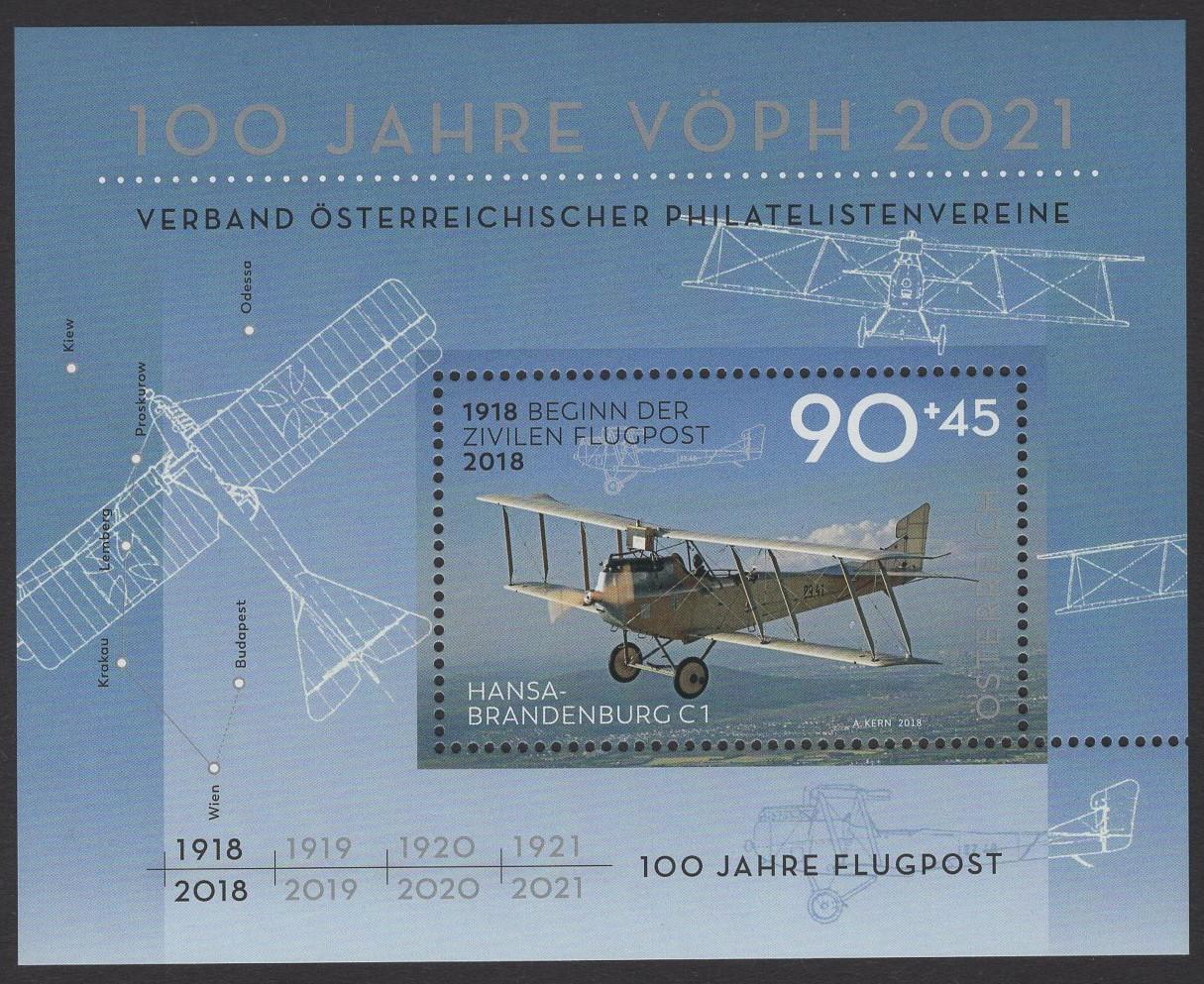 Österreich - Block 102 - postfrisch - 100 Jahre Flugpost