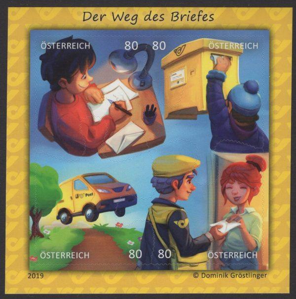 Österreich - Block 103 - postfrisch - Comicmarke Puzzle VVII der Weg des Briefes