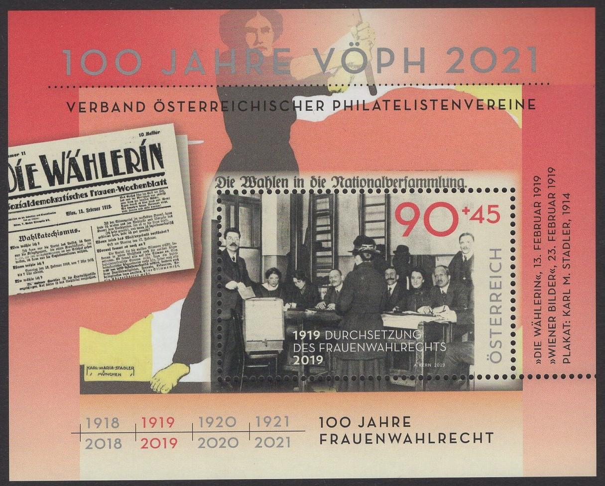 Österreich - Block 108 - postfrisch - 100 Jahre Österr Philatelistenvereine