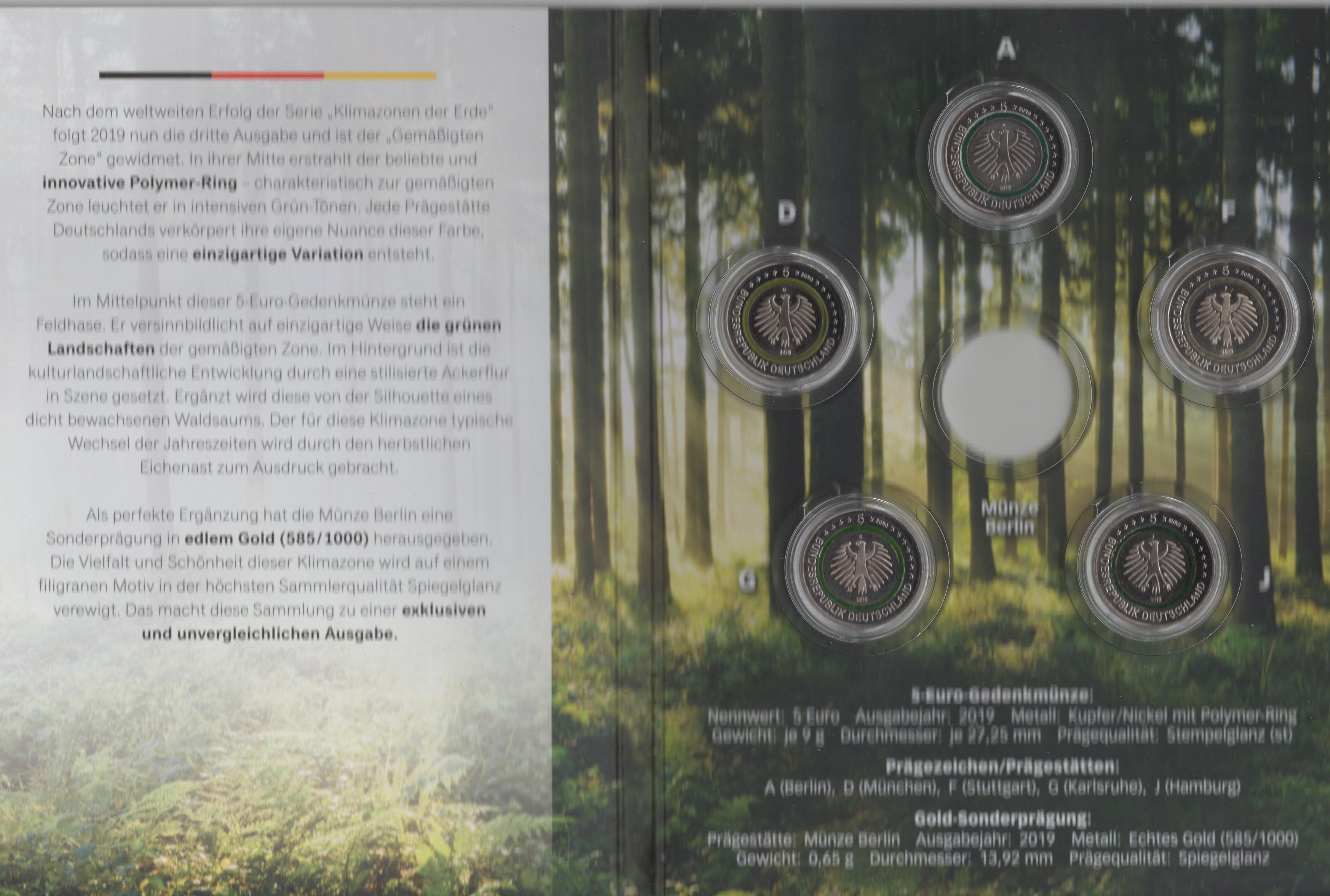 2019-5€-Gemässigte Zone Buchstabe A-J im Blister