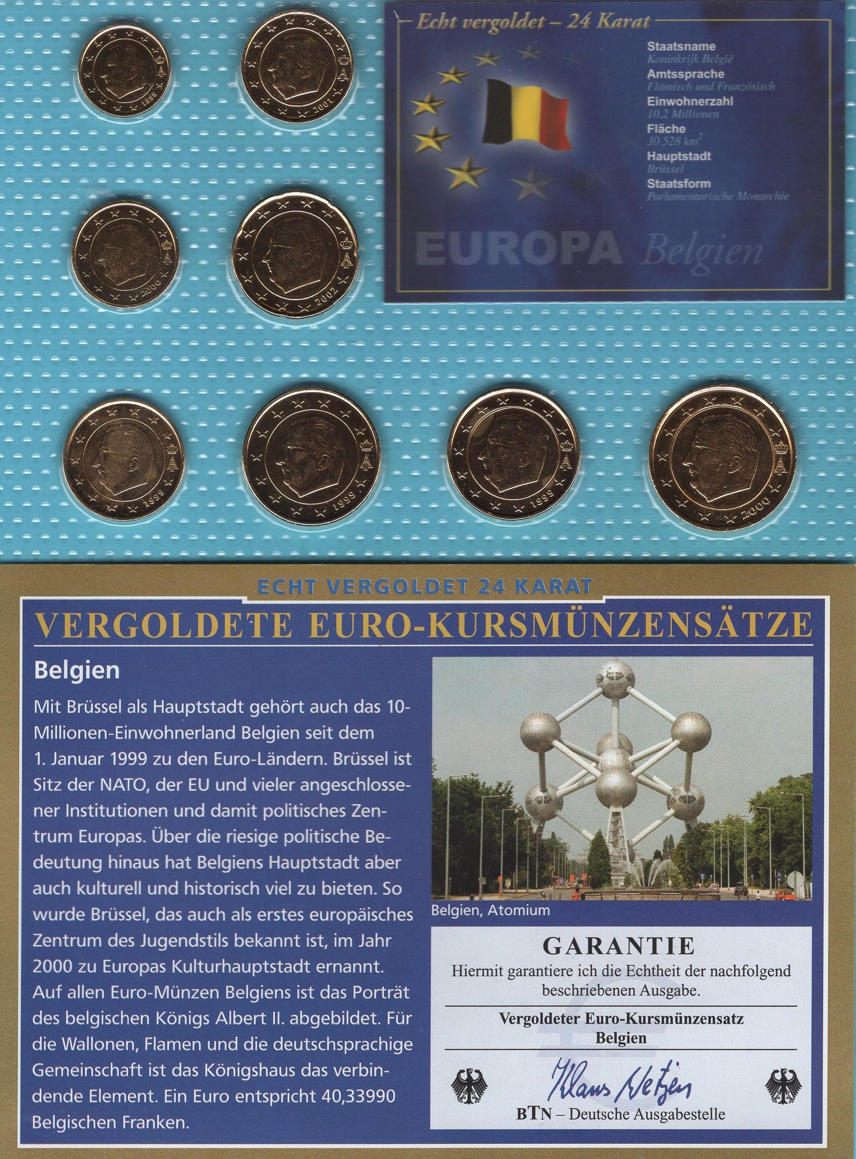 Belgien 1999-2002 vergoldet