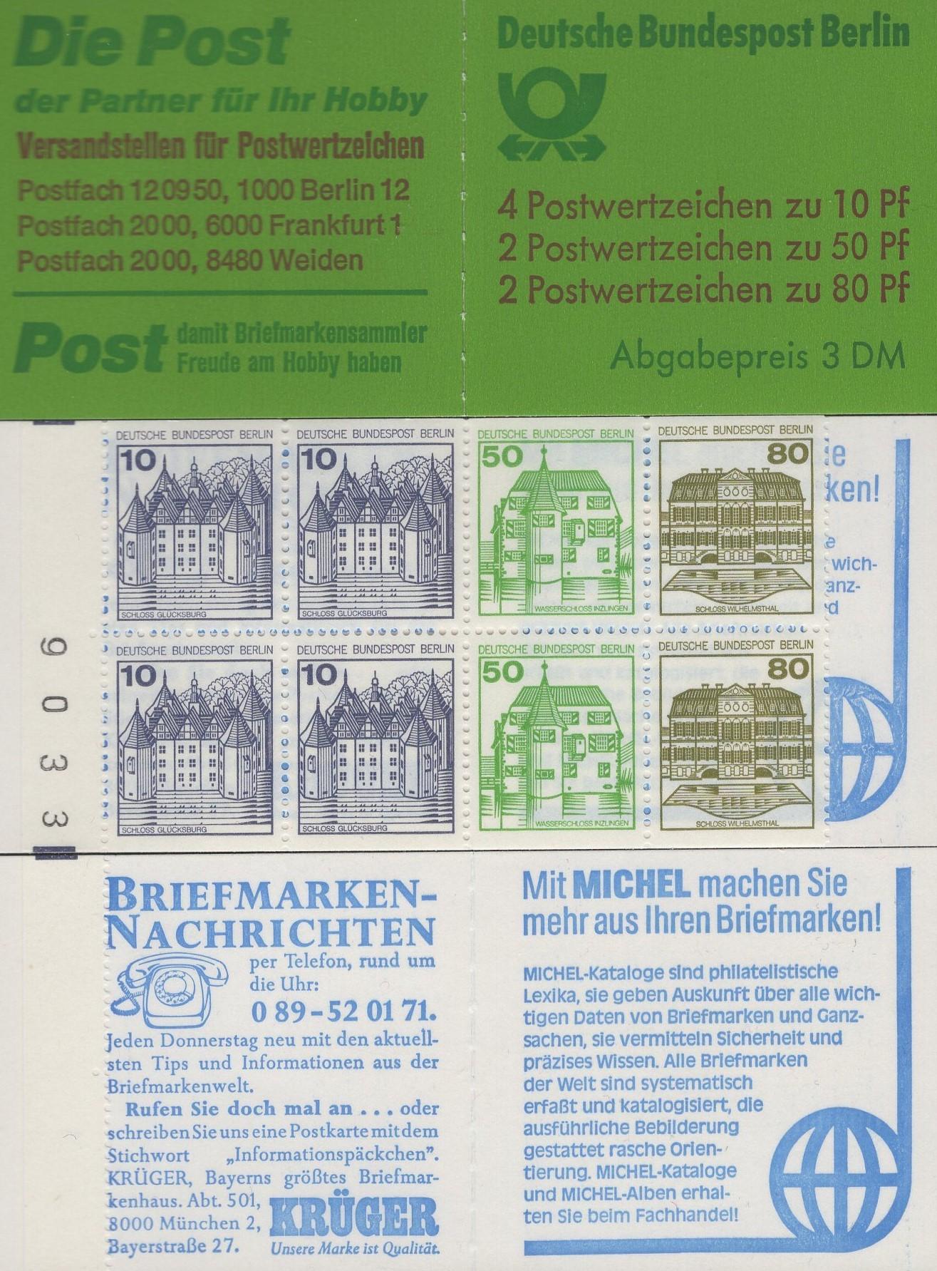 Berlin MH 13 b oZ Burgen und Schlösser mit 4 Randziffern