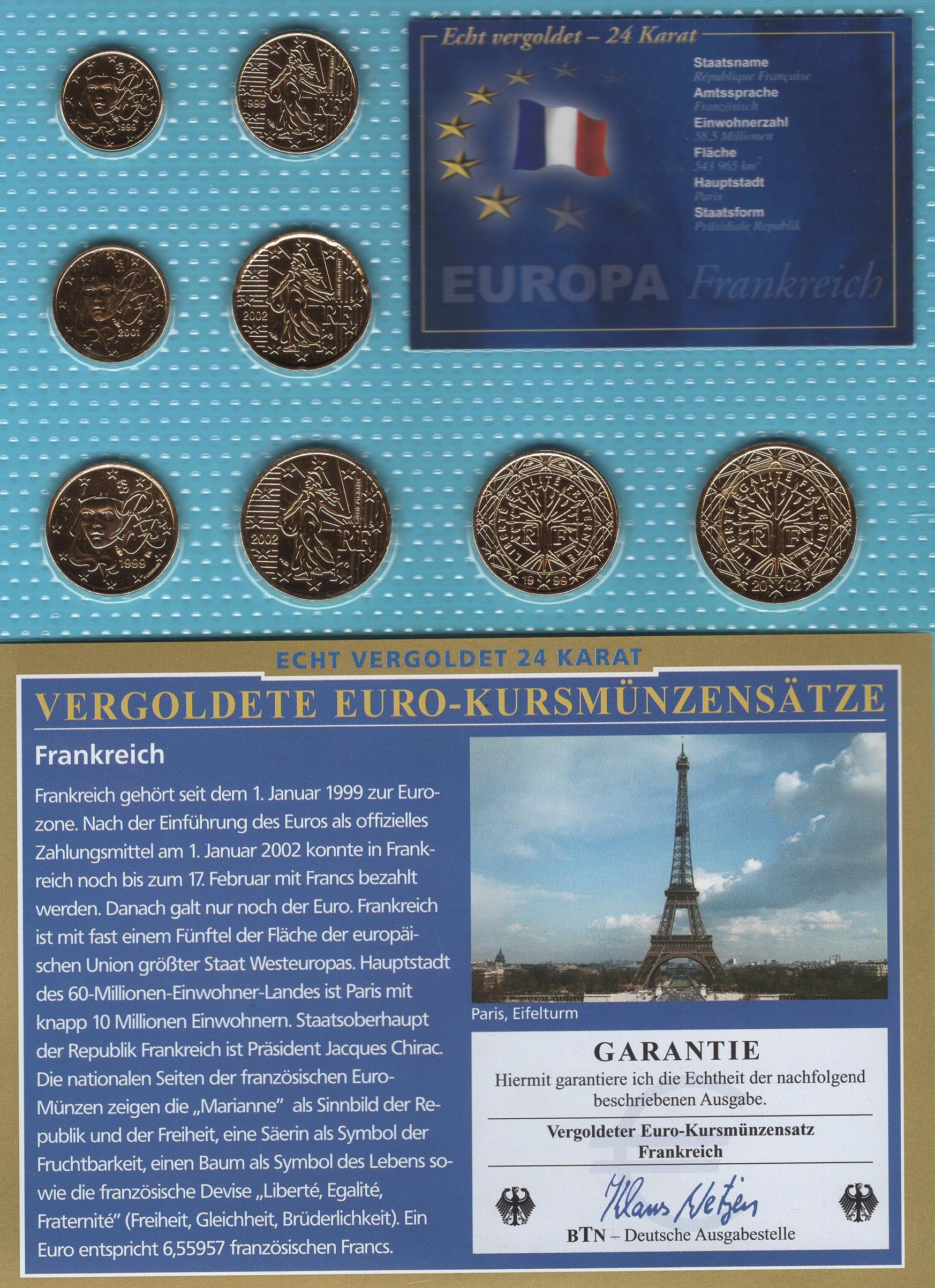 Frankreich 1999-2002 vergoldet