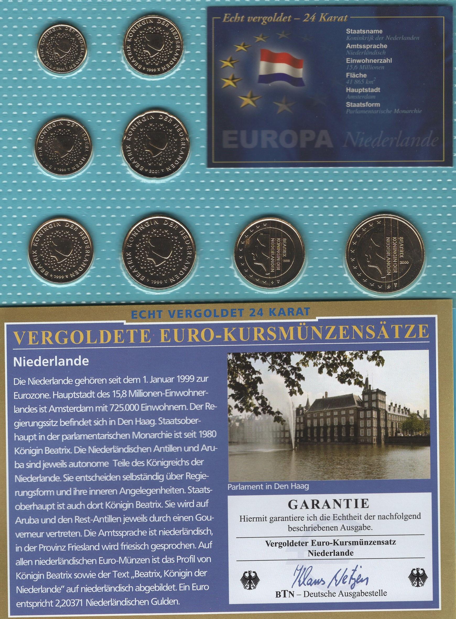 Niederlande 1999- 2001 vergoldet
