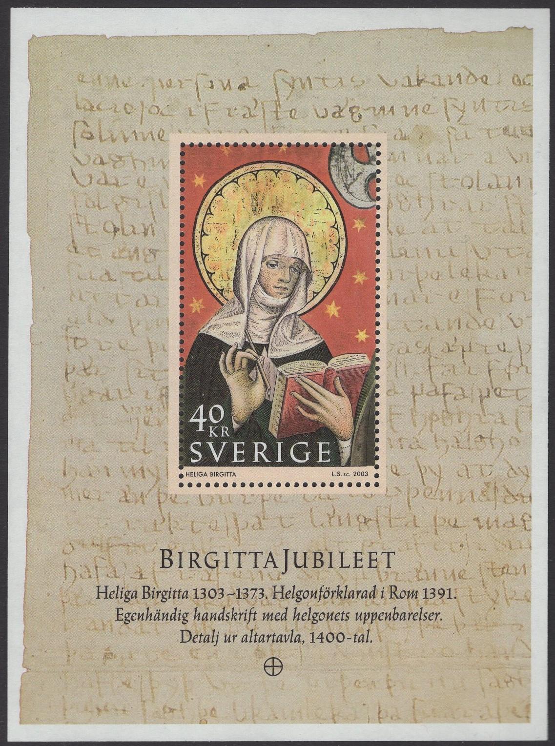 Schweden - postfrisch - Block 17 - 700 Geburtstag hl Britta
