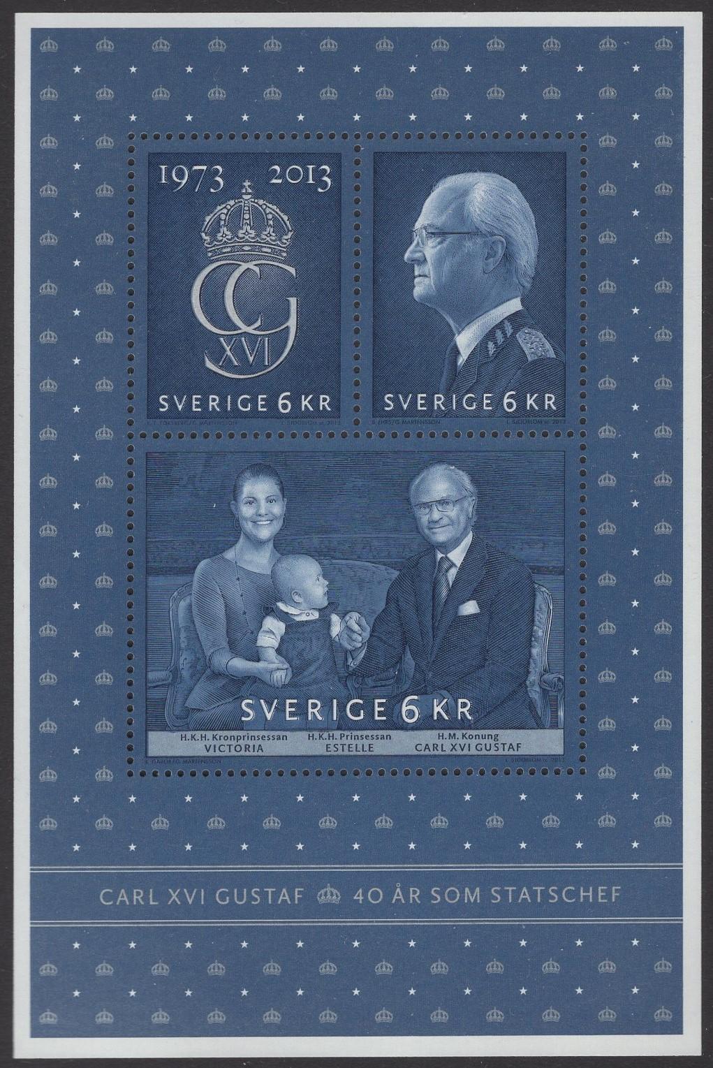 Schweden - postfrisch - Block 44 - 40 Jahre regentschaft König Carl Gustav XVI