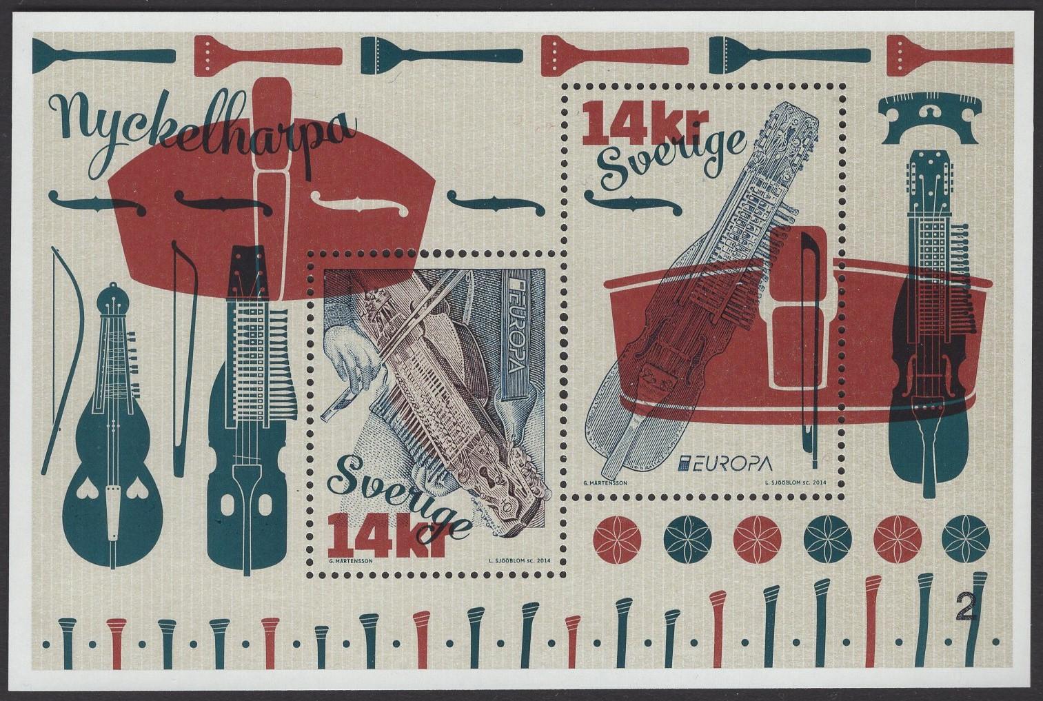 Schweden - postfrisch - Block 49 - Europa Musikinstrumente 2014