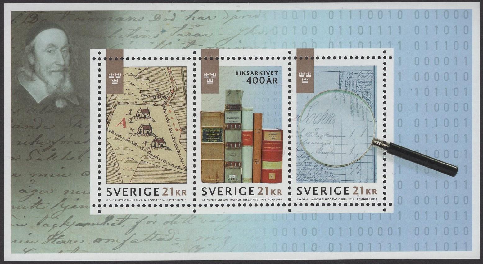 Schweden - postfrisch - Block 56 - Schwedisches Nationalarchiv 2018